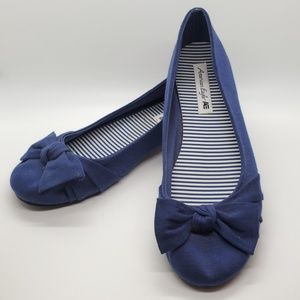 Blue American Eagle flats with cute bow